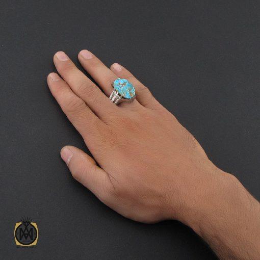 انگشتر فیروزه نیشابوری درشت مردانه هنر دست استاد شرفیان - کد 8768 - 5 213 510x510