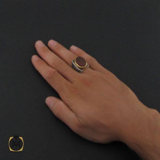 انگشتر عقیق قرمز مردانه با حکاکی ومن یتق الله - کد 8626 - 5 45 510x510