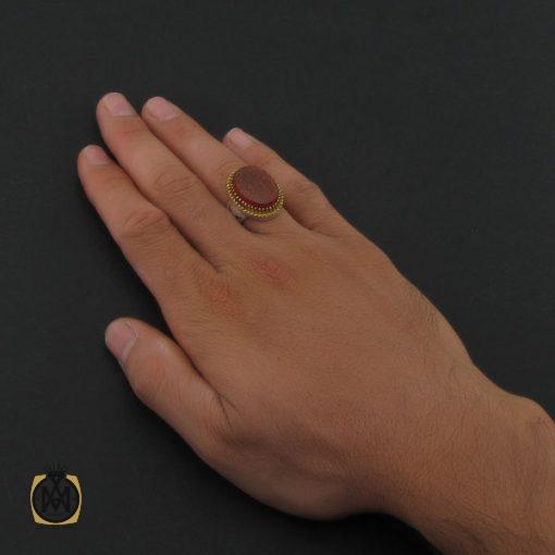 انگشتر عقیق قرمز مردانه با حکاکی وان یکاد - کد 8628 - 5 47 510x510