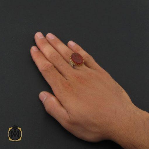 انگشتر عقیق قرمز مردانه با حکاکی وان یکاد - کد 8634 - 5 53 510x510