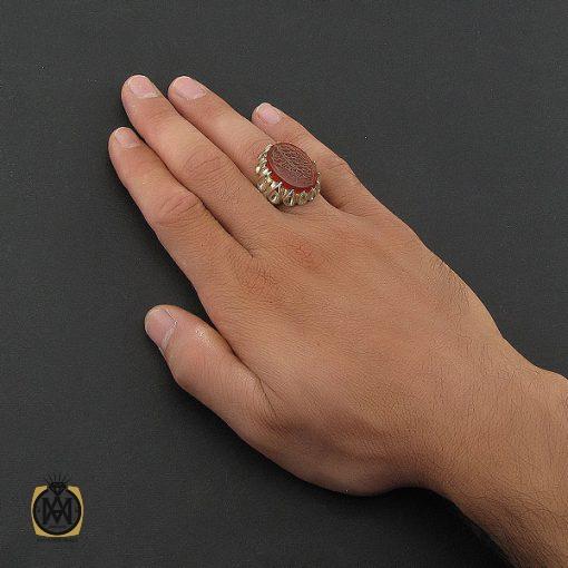 انگشتر عقیق قرمز مردانه با حکاکی ومن یتق الله - کد 8650 - 5 68 510x510