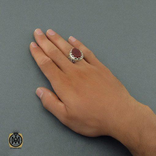 انگشتر عقیق یمن مردانه با حکاکی یا حسین ثارالله استاد حیدر - کد 8603 - 6 15 510x510