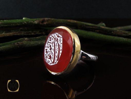 انگشتر عقیق یمن با حکاکی توکلت علی الله دست ساز مردانه – کد ۸۹۱۸