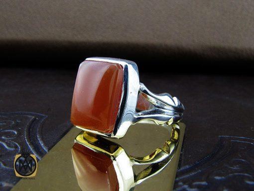 انگشتر عقیق یمن با حکاکی شرف الشمس دست ساز مردانه - کد 8927 - 00 141 510x383