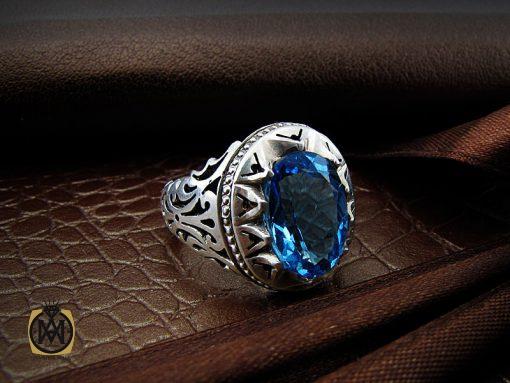 انگشتر توپاز آبی خوش رنگ  مردانه دست ساز - کد 8938 - 00 173 510x383