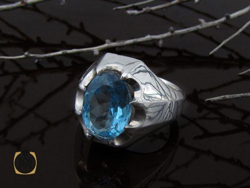 انگشتر توپاز آبی خوش رنگ مردانه - کد 10034 - 00 276 510x383