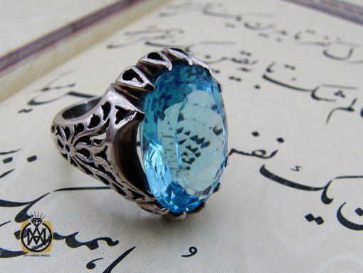 انگشتر توپاز آبی مردانه درشت و خوش رنگ - کد 10038 - 00 279 510x383