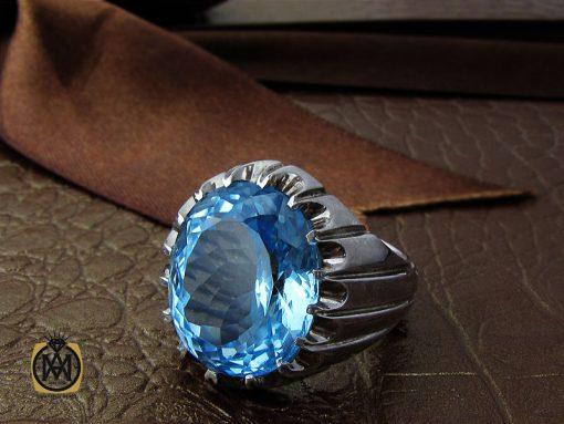 انگشتر توپاز آبی درشت مردانه هنر دست استاد باقرزاده - کد 10040 - 00 281 510x383