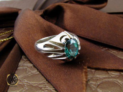 انگشتر توپاز سبز مردانه هنر دست استاد باقرزاده - کد 10042 - 00 283 510x383