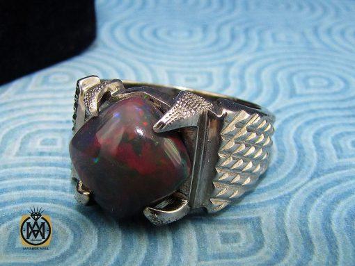 انگشتر اپال خوش رنگ مردانه هنر دست استاد شرفیان - کد 8890 - 00 91 510x383