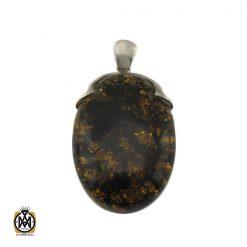 مدال کهربا پودری درشت زنانه - کد 3157