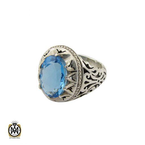 انگشتر توپاز آبی خوش رنگ  مردانه دست ساز - کد 8938 - 1 177 510x510