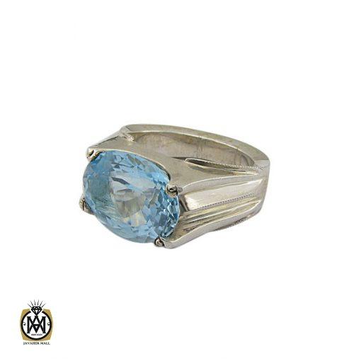انگشتر توپاز آبی مردانه طرح صفوی هنر دست استاد شرفیان – کد 8816 - 1 19 510x510