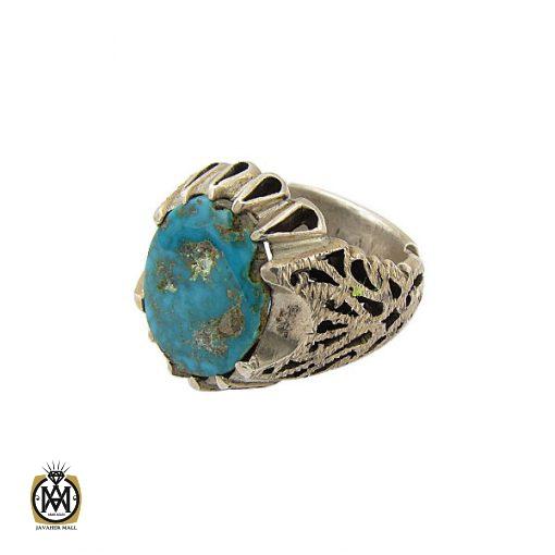 انگشتر فیروزه نیشابوری مردانه درشت دست ساز - کد 8967 - 1 206 510x510