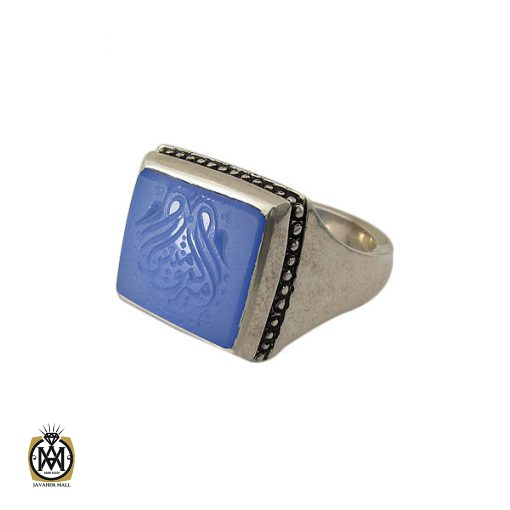 انگشتر عقیق آبی مردانه با حکاکی یا امیرالمومنین هنر دست استاد شرفیان– کد 8821 - 1 24 510x510
