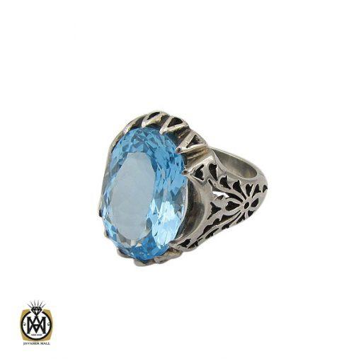 انگشتر توپاز آبی مردانه درشت و خوش رنگ - کد 10038 - 1 285 510x510