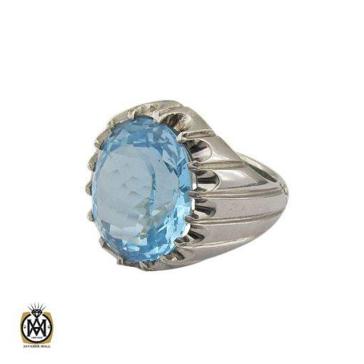 انگشتر توپاز آبی درشت مردانه هنر دست استاد باقرزاده - کد 10040 - 1 287 510x510