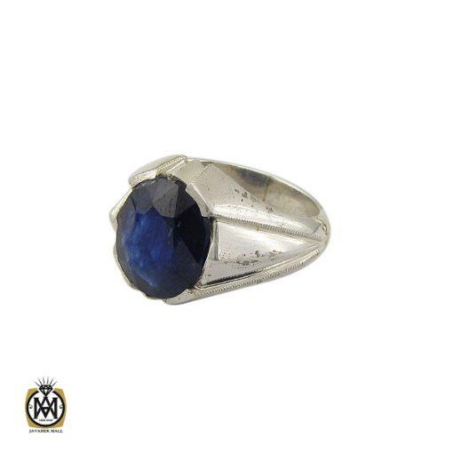 انگشتر یاقوت کبود خوش رنگ مردانه دست ساز - کد 10045 - 1 292 510x510