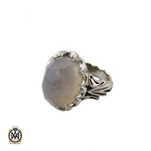 انگشتر عقیق یمن کبود الماس تراش مردانه - کد 8852 - 1 55 510x510