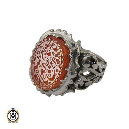 انگشتر عقیق یمن با حکاکی یا ثارالله وابن ثاره مردانه - کد 8860 - 1 63 510x510