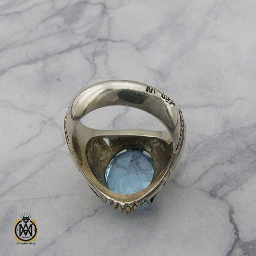 انگشتر توپاز آبی مردانه هنر دست استاد شرفیان – کد 8815