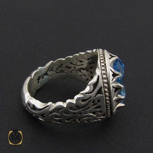 انگشتر توپاز آبی خوش رنگ  مردانه دست ساز - کد 8938 - 2 177 510x510