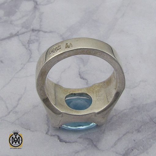 انگشتر توپاز آبی مردانه طرح صفوی هنر دست استاد شرفیان – کد 8816 - 2 18 510x510