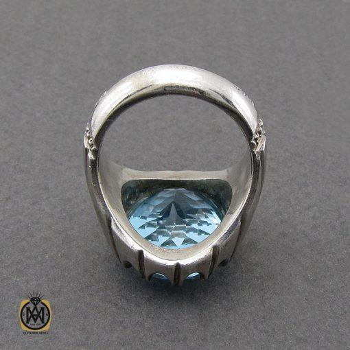 انگشتر توپاز آبی درشت مردانه هنر دست استاد باقرزاده - کد 10040 - 2 288 510x510