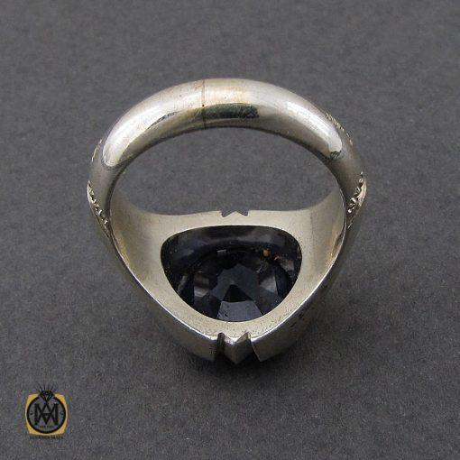 انگشتر یاقوت کبود خوش رنگ مردانه دست ساز - کد 10045 - 2 293 510x510