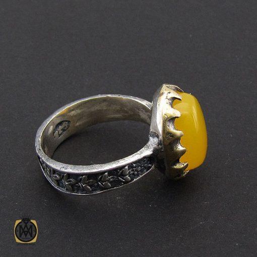 انگشتر عقیق زرد با حکاکی شرف الشمس مردانه – کد ۸۸۳۳