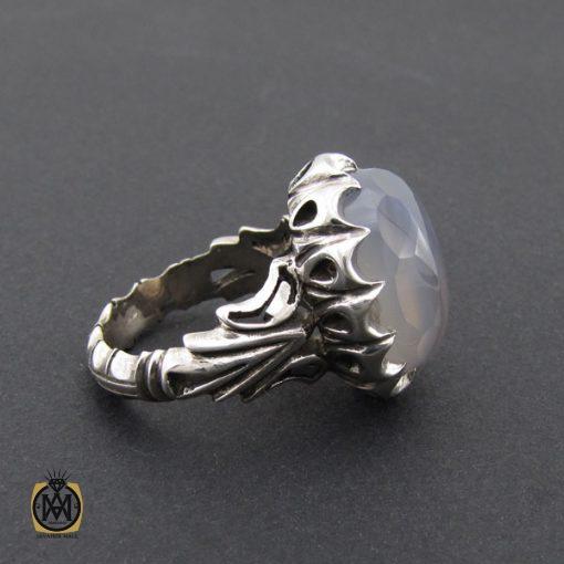 انگشتر عقیق یمن کبود الماس تراش مردانه - کد 8852 - 2 54 510x510