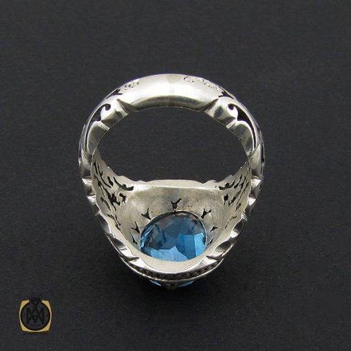 انگشتر توپاز آبی خوش رنگ  مردانه دست ساز - کد 8938 - 3 178 510x510