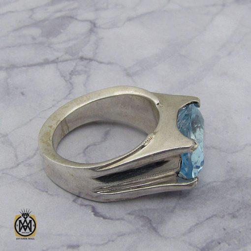 انگشتر توپاز آبی مردانه طرح صفوی هنر دست استاد شرفیان – کد 8816 - 3 18 510x510