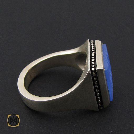 انگشتر عقیق آبی مردانه با حکاکی یا امیرالمومنین هنر دست استاد شرفیان– کد 8821 - 3 23 510x510