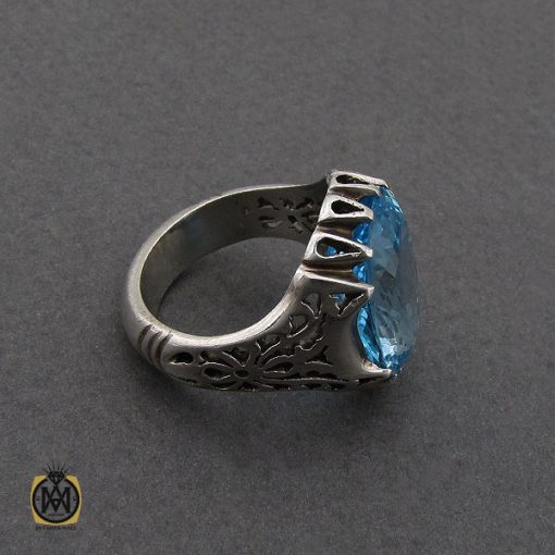 انگشتر توپاز آبی مردانه درشت و خوش رنگ - کد 10038 - 3 287 510x510