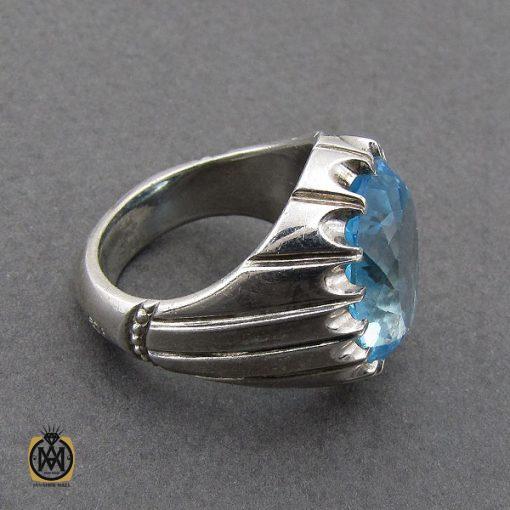 انگشتر توپاز آبی درشت مردانه هنر دست استاد باقرزاده - کد 10040 - 3 289 510x510