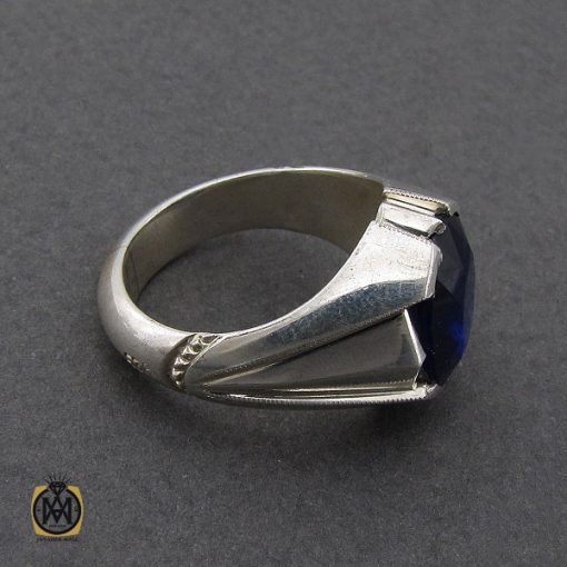 انگشتر یاقوت کبود خوش رنگ مردانه دست ساز - کد 10045 - 3 294 510x510