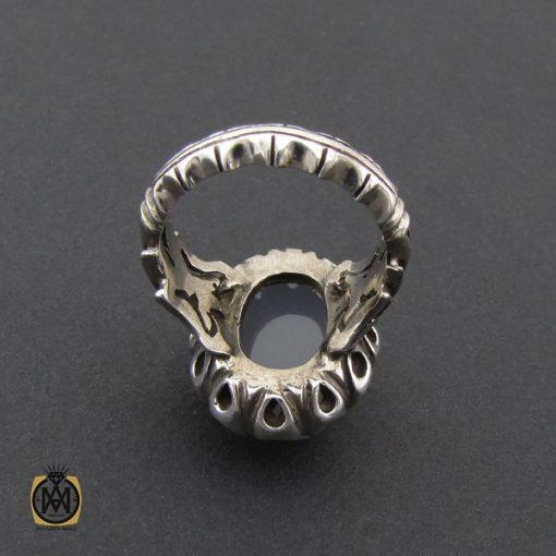 انگشتر عقیق یمن کبود الماس تراش مردانه - کد 8852 - 3 54 510x510
