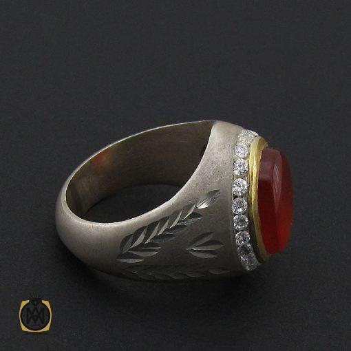 انگشتر عقیق یمن خوش رنگ مردانه دست ساز - کد 8877 - 3 79 510x510