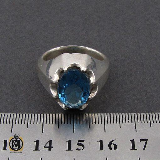انگشتر توپاز آبی خوش رنگ مردانه - کد 10034 - 4 282 510x510