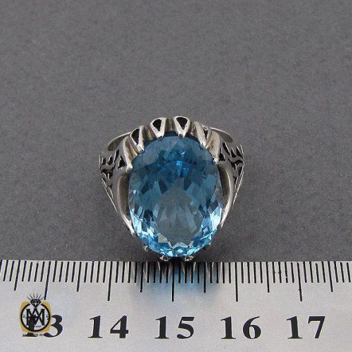 انگشتر توپاز آبی مردانه درشت و خوش رنگ - کد 10038 - 4 286 510x510