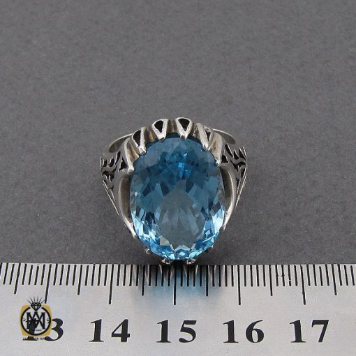 انگشتر توپاز آبی مردانه درشت و خوش رنگ – کد ۱۰۰۳۸