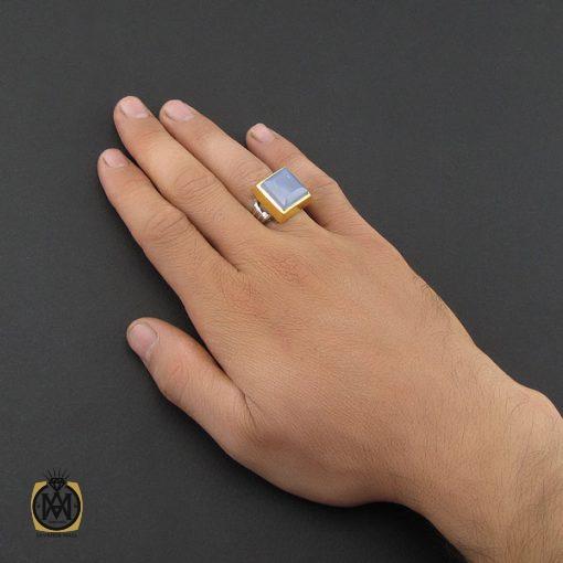 انگشتر عقیق کبود یمن تراش دست ساز مردانه - کد 8919 - 5 121 510x510