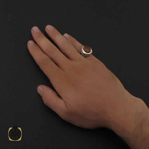 انگشتر عقیق یمن با حکاکی شرف الشمس مردانه - کد 8891 - 5 124 510x510