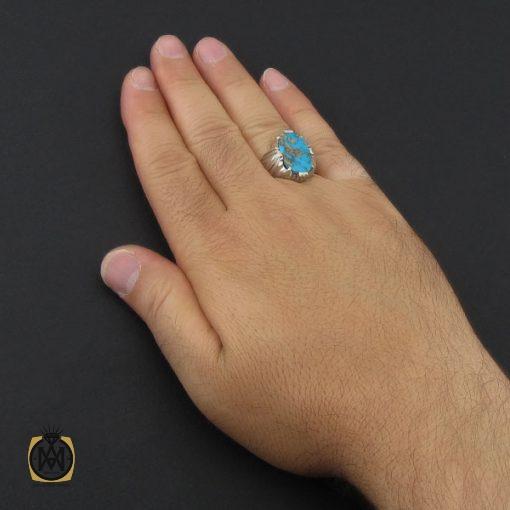 انگشتر فیروزه نیشابوری مردانه خوش طبع هنر دست استاد شرفیان - کد 8969 - 5 181 510x510