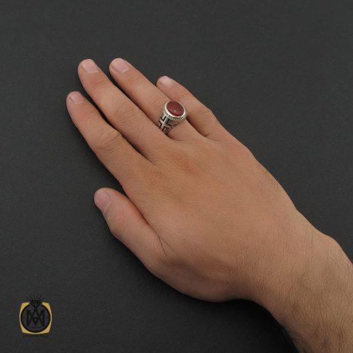 انگشتر عقیق یمن مردانه رکاب دست ساز طرح علی - کد 8986 - 5 199 510x510