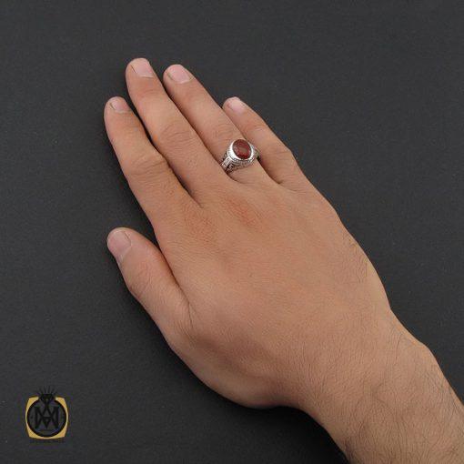 انگشتر عقیق یمن خوش رنگ مردانه رکاب دست ساز - کد 10022 - 5 218 510x510