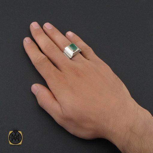 انگشتر زمرد زامبیا مرغوب مردانه - کد 10033
