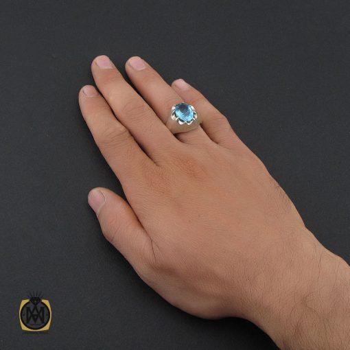 انگشتر توپاز آبی خوش رنگ مردانه - کد 10034 - 5 231 510x510
