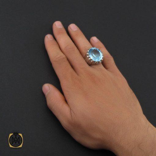 انگشتر توپاز آبی درشت مردانه هنر دست استاد باقرزاده - کد 10040 - 5 237 510x510